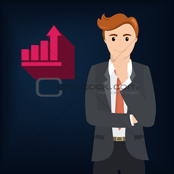 Business man and growth arrow strategies concept