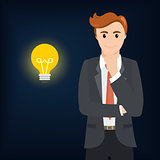 Businessman thinking and the bulb shines