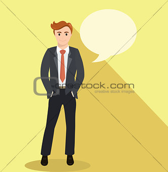 Business man standing and hands in pockets