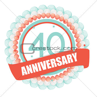 Cute Template 40 Years Anniversary with Balloons and Ribbon Vect