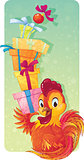 Cute Symbol of Chinese Horoscope - Fire Rooster with Gift Boxes