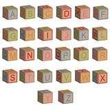 Toy blocks alphabet letters in 3D
