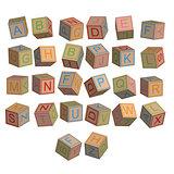 Toy blocks alphabet in 3D disordered