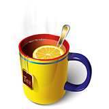 Yellow mug of tea
