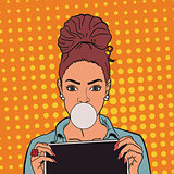 beautiful girl with chewing gum and tablets. pop art. EPS 10