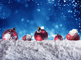 Xmas balls decoration with snow