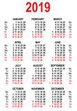 Calendar 2019 grid template