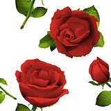 Seamless red rose flower, bud and leaves