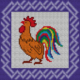 Knitted pattern with Proud Red Rooster