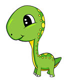 Cute Cartoon of Green Baby Brontosaurus Dinosaur