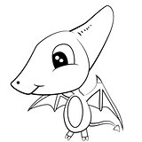 Cute Cartoon of Brown Baby Pterodactyl DinosaurCute Black and White Cartoon of Baby Pterodactyl Dinosaur