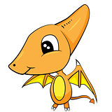 Cute Cartoon of Brown Baby Pterodactyl Dinosaur