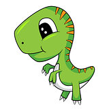 Cute Cartoon of Green Baby T-Rex Dinosaur