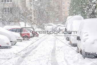 Car covered with snow. Moscow Russia