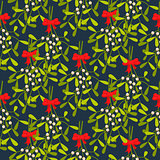 Mistletoe branches seamless vector pattern.