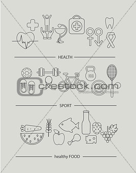 Modern thin line icons set of health lifestyle