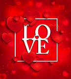 Happy valentines day on red background with hearts