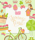 Spring background, vector illustration.