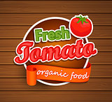 Fresh Tomato - organic food label.