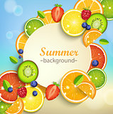 Summer background with tropical fruits.