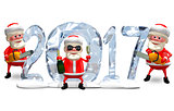 3D Illustration Three Santa Claus and Ice Figures