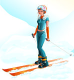 Winter sport. Beautiful young woman skier