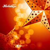 Happy holidays golden stars on glowing background