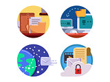 Documentation and document management set icon