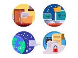 Documentation and document management set icon