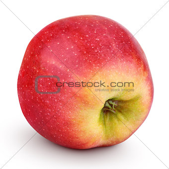 Single fresh red yellow apple isolated on white