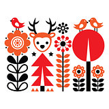 Finnish inspired folk art pattern - Scandinavian, Nordic style with flowers and animals