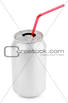Aluminum soda can with straws