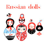 Vector set of Russian dolls