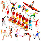 Sport Isometric Olympic Set Sportsmen Vector Illustration