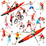 Sport Isometric Olympic Set Vector Sportsmen Illustration