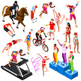 Sport Isometric Olympic Sportsmen Set Vector Illustration