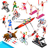Sport Isometric Sportsmen Game Olympic Set Vector Illustration