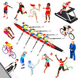 Sport Isometric Sportsmen Game Set Olympic Vector Illustration