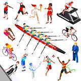 Sport Isometric Sportsmen Game Set Olympic Vector Illustration