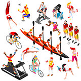 Sport Isometric Sportsmen Olympic Game Set Vector Illustration