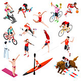 Sport Isometric Sportsmen Olympic Set Game Vector Illustration
