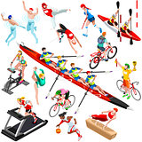 Sport Isometric Sportsmen Set Game Olympic Vector Illustration