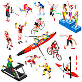 Sport Isometric Sportsmen Set Olympic Game Vector Illustration