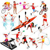Sport Isometric Sportsmen Set Olympic Vector Illustration