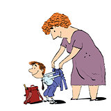 Grandma or the nanny accompanies her grandson to school