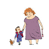 Grandma, grandson and dog on a walk