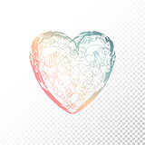 Vector hand drawn ombre heart