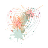 Vector heart with blots