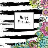 Vector floral birthday card