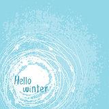 Vector card Hello winter